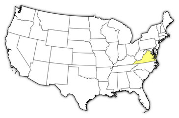 Map of the United States, Virginia highlighted