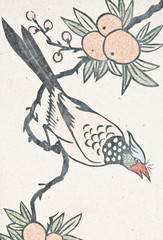 bird painting on chinese temple wall