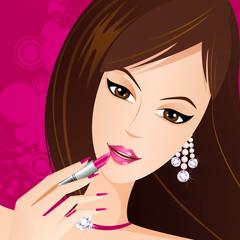 Lady applying Lipstick