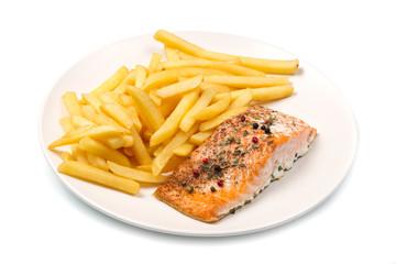 salmone grigliato con patatine fritte
