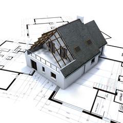Detached house on architect blueprints