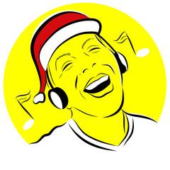 homme bonnet de père noel souriant écoute musique