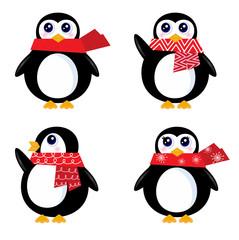 Christmas retro Penguin set isolated on white ( red )