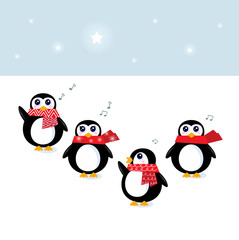 Cute christmas singing Penguins ( vector, cartoon )
