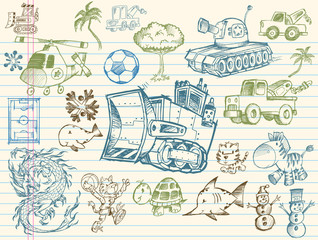 Doodle Sketch Vector Element Design Illustration Set