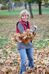 Autumn, leaves raking