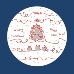 Christmas greeting card with red lines