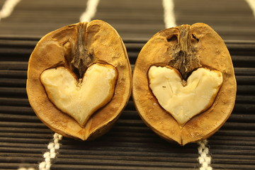 Two nuts with abstract hearts for Valentine's Day