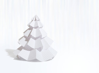 Handmade Christmas tree cut out from office paper (file with cli
