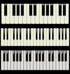 3 different piano keyboards