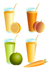 Glass of juice from a peach, an orange. Carrots, an apple