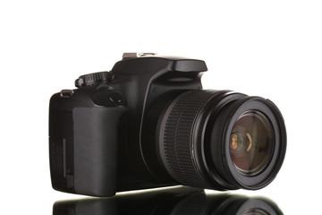 Black photocamera isolated on white