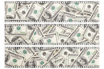 Money Pile $100 dollar bills, film
