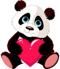 Canvas Prints Fairytale World Cute Panda with heart