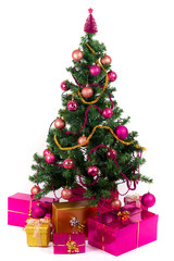 Beautiful Christmas tree with present and decorations