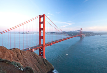 The Golden Gate Bridge at dusk