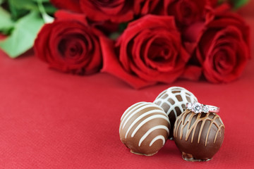 Engagement Ring and Chocolates