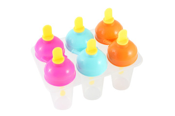 Plastic ice mold multiple color on white background..