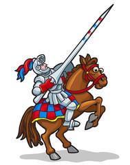 Spoed Foto op Canvas Ridders Cartoon Colorful Knight