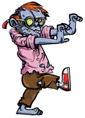Cartoon zombie nerd with glasses