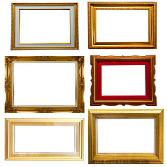 Set of gold classic wood frame isolate