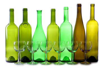 Green bottles and glasses