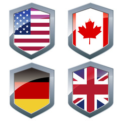 Silver shileds with flags