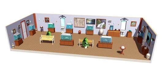 Acquario Salone-Aquarium-3d Plan