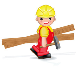 HAPPY WORKER WITH HAMMER AND PLANKS