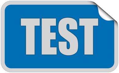 Sticker blau eckig curl oben TEST