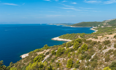 Adriatic island sea coast scenic view. Hvar, Croatia