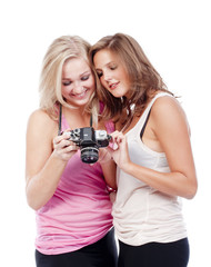 young women viewing pictures