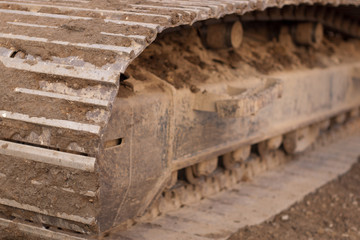close-up of track on excavator