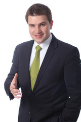 businessman standing against isolated white background