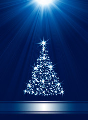 Christmas tree made of stars against blue background