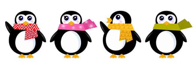 Cute retro winter Penguin set isolated on white ( vector )
