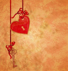 grunge textured background with lock red heart and key hanging o