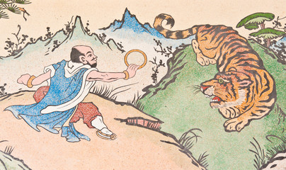 human and tiger painting on chinese temple wall