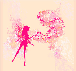 floral background with a beautiful fairy