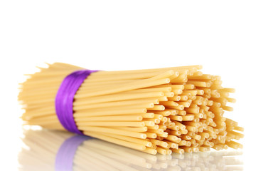 Bunch of spaghetti with ribbon isolated on white