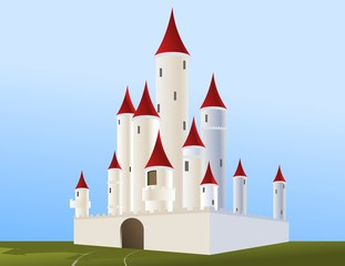 Printed kitchen splashbacks Castle Cartoon white castle in the background of blue sky