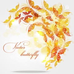 Autumn background with butterflies