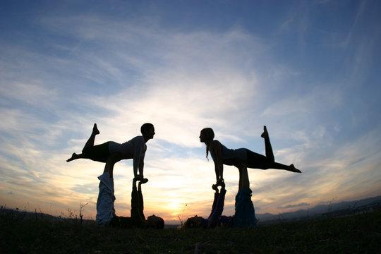 Yoga Silhouettes Acroyoga