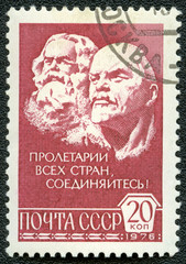 USSR - CIRCA 1976: A Stamp printed in USSR shows  Marx and Lenin