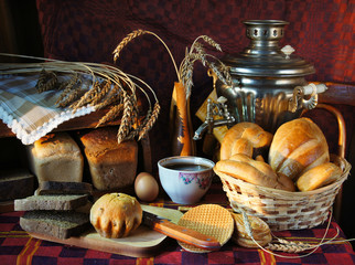 Still life with a variety of bread