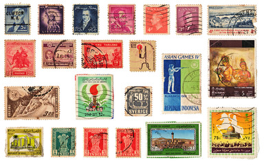 Vintage postage stamps collection from different countries