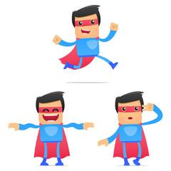 Aluminium Prints Superheroes set of funny cartoon superhero