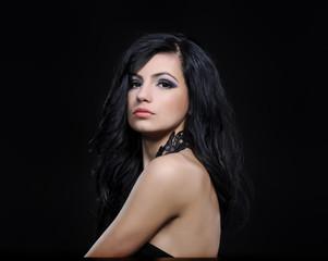 fashion woman portrait on black background studio shot