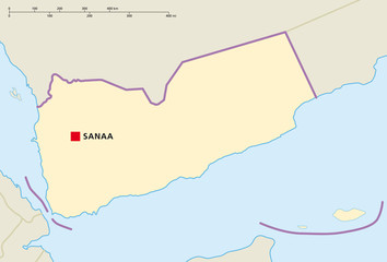 Yemen political map with capital Sanaa and national borders. English labeling and scaling. Illustration. Vector.