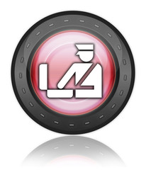 """Red Industrial Style Icon """"Customs Symbol"""""""